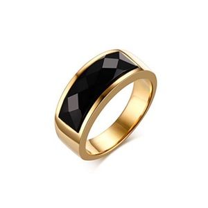Stainless Steel Luxury Black Onyx Gold Ring